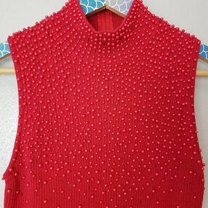 Christine Phillipe Red Beaded Sleeveless Sweater S